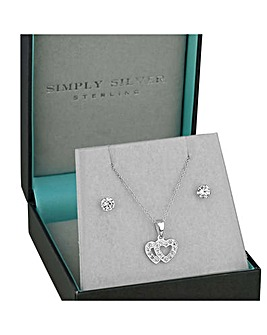 Simply Silver double heart jewellery set