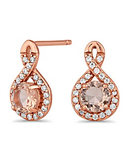 Simply Silver morganite infinity earring
