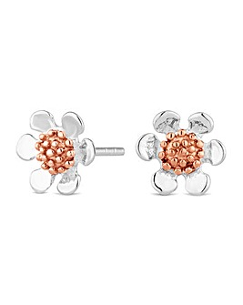 Simply Silver two tone flower earring