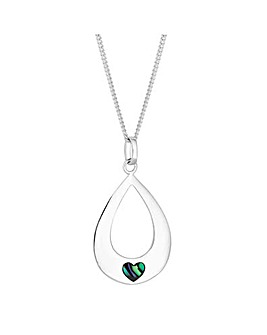 Simply Silver abalone heart necklace