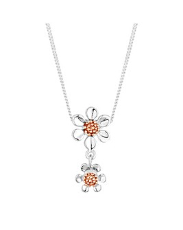 Simply Silver double flower necklace