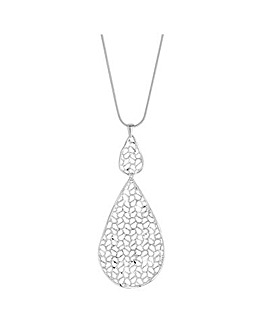 Simply Silver cut out teardrop necklace