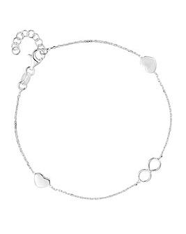 Simply Silver infinity heart bracelet