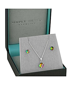 Simply Silver cube jewellery set