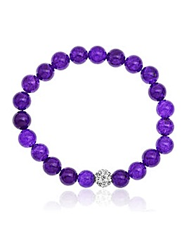 Purple Jade and Crystal Bracelet