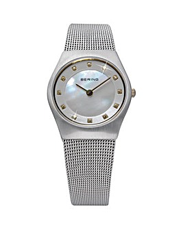 Bering Ladies MoP Mesh Bracelet Watch