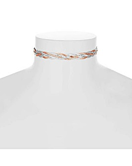 Simply silver two tone choker