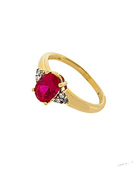 9ct Diamond and Created Ruby Ring