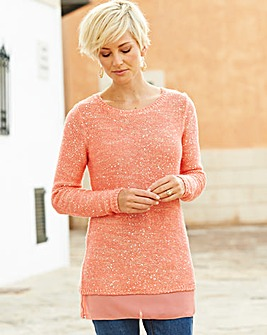 Sequin and Woven Jumper