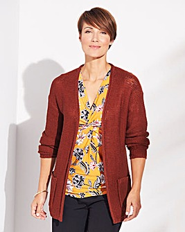 Roll-Edge Longline Cardigan