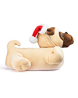 Santa Pug Novelty Slipper Wide Fit