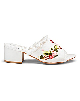 Truffle Denim Embroidered Mule D Fit