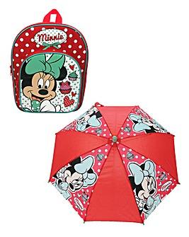 Disney Minnie Mouse Backpack & Umbrella