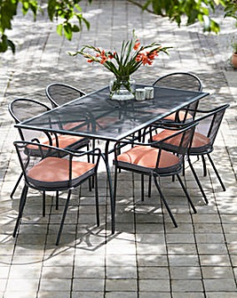 Paris 6 Seat Metal Mesh Dining Set Rec