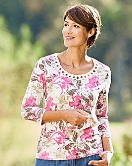 Floral Print T Shirt with Cornelli Trim