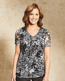 Print Lined Lace Jersey Top