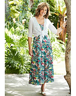 Tropical Print Tiered Jersey Dress 48in