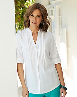 Linen Mix Blouse with Pintuck Detail