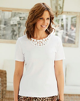 Crochet Trim Jersey T Shirt