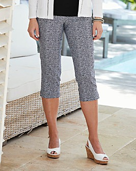 Print Pull-On Capri Trousers Length 21