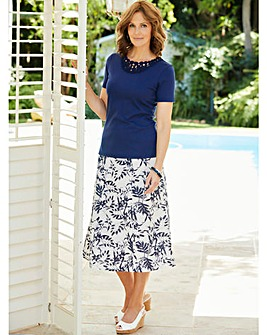 Printed Linen Mix Skirt