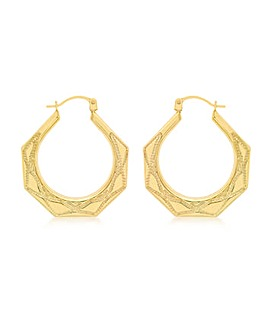 9CT Yellow Gold Triangle Pattern Earring