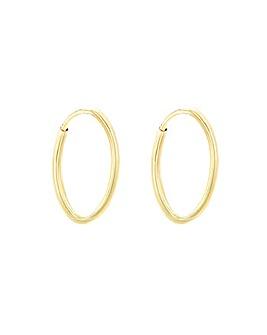 9Ct Gold 18mm Plain Hoop Earring