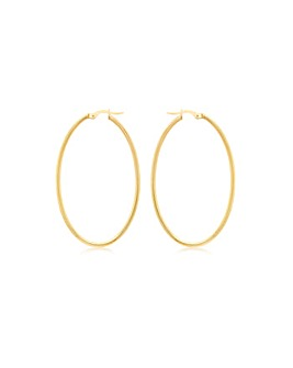 9CT Yellow Gold Slim Oval Creole Earring