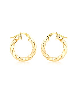9CT Yellow Gold Twist Creole Earring
