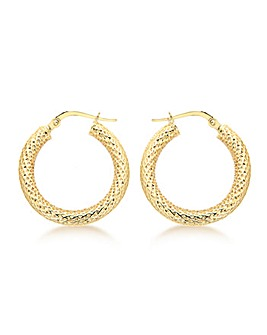9Ct Gold Mesh Creole Earring