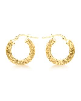 9Ct Gold  Patterned Hoop Earring