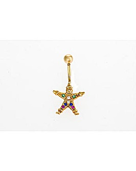 9ct Yellow Gold Crystal Clown Navel Bar