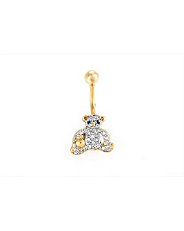 9ct Yellow Gold Crystal Teddy Navel Bar