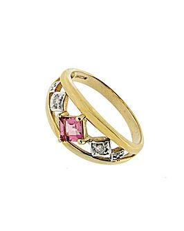 9ct Gold Diamond and Tourmaline Ring
