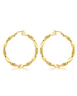 9Ct Gold Twisted Hoop Earring