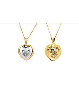 9ct Footprints Diamond Heart Pendant
