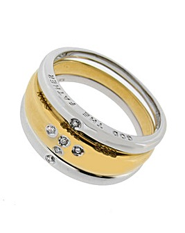 9ct Yellow and White Gold Stacker Ring