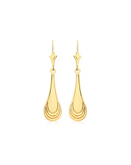 9Ct Gold Patterned Drop Earring