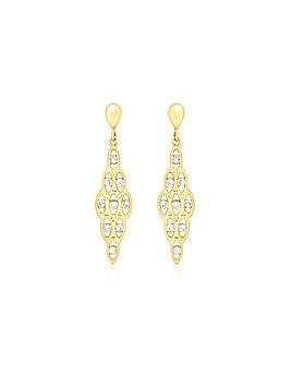 9Ct Gold 9 Drop Earring