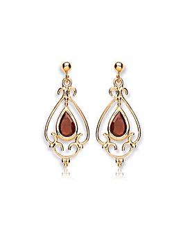 9CT Gold Garnet Chandelier Drop Earrings
