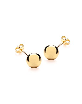 9Ct Gold Plain Round Stud Earring
