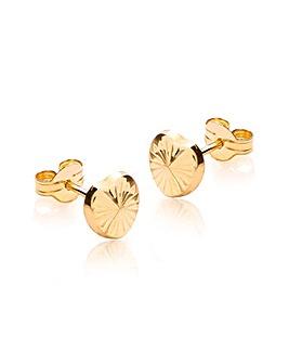 9Ct Gold Pattern Heart Stud Earring