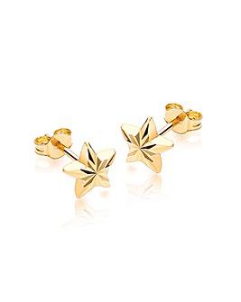 9Ct Gold Pattern Star Stud Earring