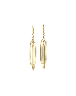 9Ct Gold Double Oval Drop Earring