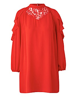 Simply Be Red Lace Insert Tunic