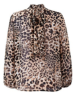 Simply Be Leopard Pussybow Blouse