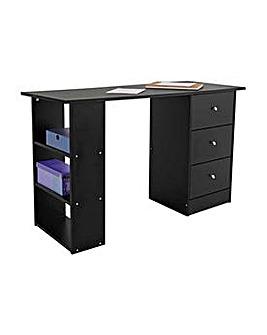 HOME New Malibu 3 Drawer Desk - Black.