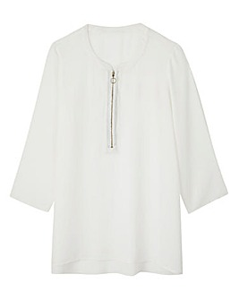 Ivory Ring Pull Zip Blouse