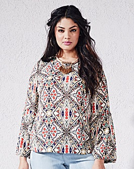 Multi Print Bell Sleeve Top