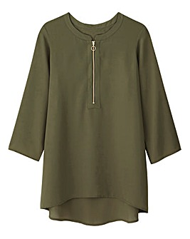 Olive Ring Pull Zip Blouse